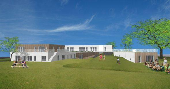 kleur render voor nieuwe jeugdlokalen Hooglede door ROBUUST architectuur en onderzoek