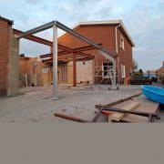 staalstructuur staat in Lochristi werf van robuust architectuur en onderzoek