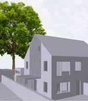 grijswaarden render voor Mariakerke project van ROBUUST architectuur en onderzoek