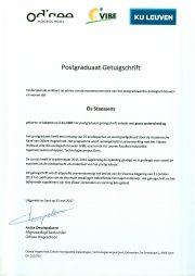 getuigschrift postgraduaat Els Staessens